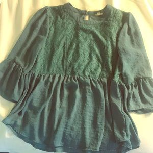 Dusty Teal Blouse L Large Eyeshadow Lace Silky
